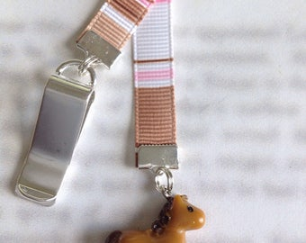 Pony bookmark / Horse bookmark / Cute bookmark - Attach to book cover then mark the page with the ribbon. Never lose your bookmark
