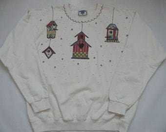 Vintage 1990's Hand Painted Women's Off White Sweatshirt With Birdhouse Appliques Size Large