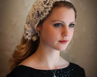 Evintage Veils~ French Alencon Lace Vintage-Inspired Headband Kerchief Tie-style Head Covering Church Veil