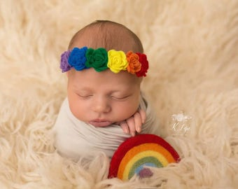 Needle felted rainbow, Felted rainbow, Rainbow baby, Rainbow prop, Rainbow photo prop, Felted clouds, Rainbow and clouds, Rainbow photo
