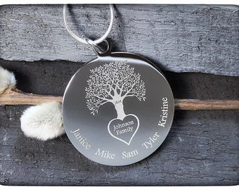 Family Tree Necklace, Tree of Life Necklace, Sterling Silver Family Tree Jewelry, Personalized Mothers Necklace, Mother of the Groom Gift