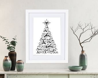 Printable Christmas Decor - Christmas Tree Printable - Christmas Art - Christmas Tree Print - Swirly Christmas Tree Instant Download