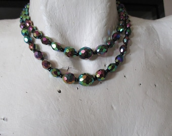 vintage Aurora Borealis  beads with tiny beads between 2 strand 15""