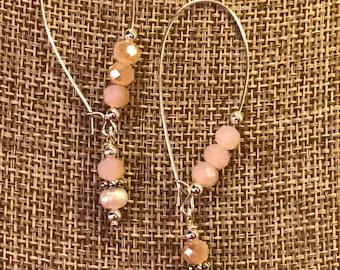 Pink Czech Glass and Freshwater Pearl Earrings