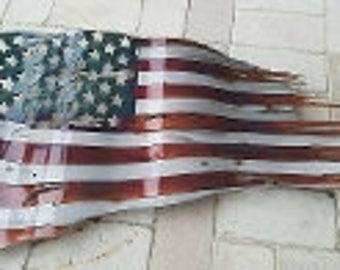 "Battle Worn USA Patina 24""x14"" Flag"