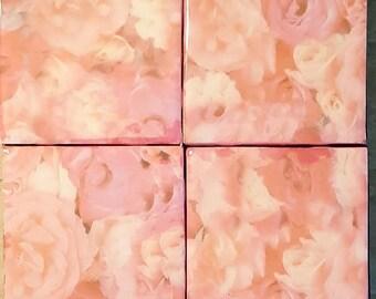 Handmade coasters pink floral