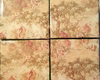 Handmade coasters French Toille Antique