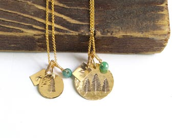 Tree Necklace, Three Pines, Nature Jewelry,Pinecone,Nature Lover Gift,Pine Tree,Outdoorsy Gifts,Outdoorsman,Adventure Jewelry Besti Gifts