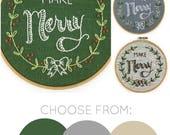 Christmas embroidery pattern, Make Merry embroidery kit, Xmas embroidery, DIY hoop art, I Heart Stitch Art, seasonal embroidery, holiday kit