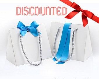 Discounted - 10 Premium White Paper Boxes with Blue Ribbon & String Handles - Packaging for Jewelry, Accessories, Wedding Party Gift Bags