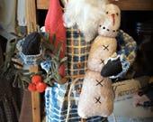Santa Cupboard Doll Standing Santa with snowman and wreath Christmas doll