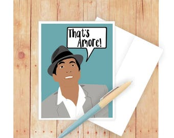 Romantic Card, Dean Martin Card, Love Card, Blank Card, Famous Person, Card for Girlfriend, Card for Wife, I Love You, That's Amore