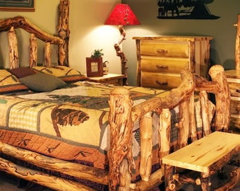 Aspen Log Wild Grizzly Bed,  Reclaimed Wood Bed, Colorado Aspen Log Furniture