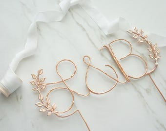Rose gold initials wedding cake topper, Cursive custom rose gold cake topper, Leaf cake topper, Rustic chic wedding, Calligraphy cake topper