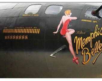 "Nose Art Memphis Belle Nostalgic Aviation Metal Sign. 12""x18"" .040 Aluminum. RG9772"