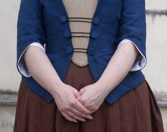 10% off! 18th century linen jacket and stomacher, choose size and colour! Colonial Historical Costume Reenactment Rococo Living History
