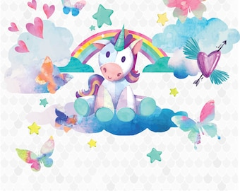 Watercolor Clipart, Watercolor Butterfly, Watercolor Unicorn, Butterflies Clipart, Unicorn Clipart, Watercolor Clouds, Stars, Hearts