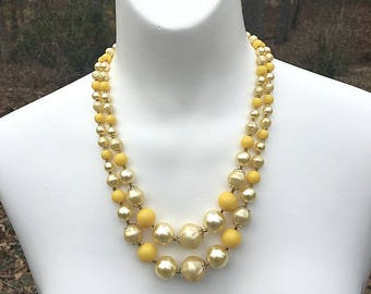 Yellow White Beaded Double Strand Necklace, Multicolored Necklace, Two Strand Necklace, Beaded Necklace, Yellow Necklace, Layered Necklace