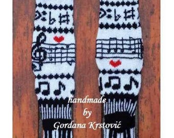 Music socks,Hand knit knee socks,long leggins,leg warmers,knitted socks,Unique,Over-the-Knee Socks,Knit Knee High Socks,wool socks