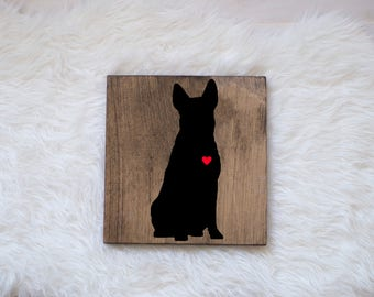 Hand Painted Australian Cattle Dog Silhouette on Stained Wood, Dog Decor, Painting, Gift for Dog People, New Puppy Gift, Housewarming Gift