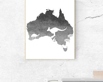 Watercolor Gray Australia Continent Wall Art - Australia Print - Wall Decor - World Country - Travel Poster  - Digital Artwork