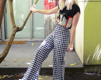 1960s Gingham Bell Bottoms, Checkered Pants, Blue and White Pants, High Waisted Pants, Festival, Palazzo Pants, Size Small Sz S, US 2 US 4