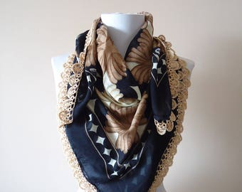 Traditional Turkish Yemeni, Oya scarf, Handmade Scarf, Crochet Oya Scarf, brown scarf, cotton floral scarf, handmade beadwork oya