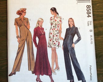 McCall's Jumpsuit or Dress Pattern #8584 - Size 8-10-12 - UNCUT Pattern - printed 1996
