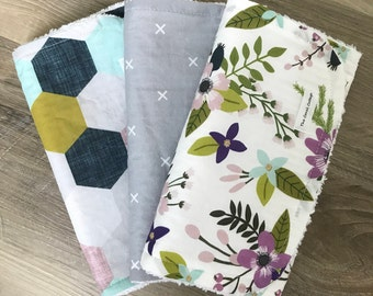 Purple Floral set of 3 burp cloths