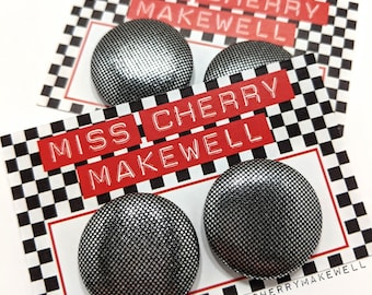 Metallic Sparkle Silver Mini Polka Dot Fabric Button Rockabilly 1950's Pin Up Retro Vintage Inspired Earrings By Miss Cherry Makewell