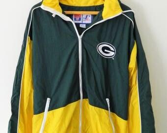 Green Bay Packers Vintage Windbreaker Jacket Zip Up with Hood // Size M