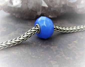 Blue Faceted Trollbead-Periwinkle Blue Bead-Vintage Bead-European Type Bead-DIY Jewelry Supply-Blue Glass Bead-Add A Bead-Pandora Style Bead
