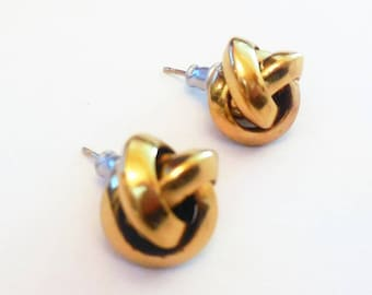Vintage Stud Earrings Gold Tone Metal Knot Retro Fashion Accessories Costume Jewelry