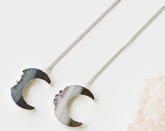 Amethyst Slice Moon Necklace