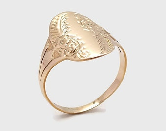 Yellow Gold Floral Ring, Womens Rings, Womens Gold Ring, Yellow Gold Rings, Large Rings Women, Gold Rings Women, Mothers Day, Womens Ring