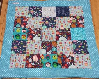 Baby Patchwork Blanket Quilt Birth Present Babyshower blue stars pink girls cozy grey owls sheeps new 83 cms x 83 cms