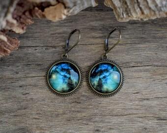 Blue galaxy earrings, Space earrings, Nebula earrings, Galaxy jewelry, Universe earrings, Astronomy earrings, Blue dangle earrings UJ 054