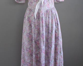 Periwinkle Laura Ashley Prairie Dress - Sailor Collar - Floral Print -Size 8-10 Medium