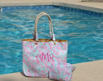 Monogram Tote , Monogrammed Beach Tote , Monogram Beach Bag, Lobster Print Tote Bag , Resort and Cruise Rope Tote, Preppy Cosmetic Bag