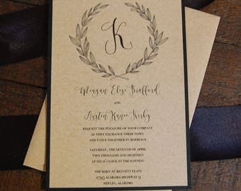 Black and Kraft Wedding Invitation, Rustic Wedding Invitation, Monogrammed Wedding Invitation, Kraft Wedding Invitation