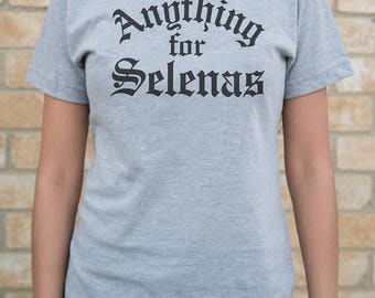 Anything for Selenas (Old English) - Heather Grey Ladies Shirt