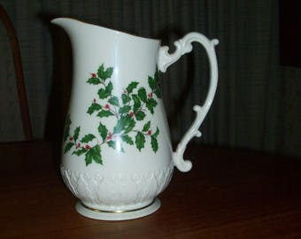 Vintage Lenox Holiday Fine China  (Dimension shape) Gold 32 oz. Pitcher with Sculpted Handle and Base- Holly and Berries Design