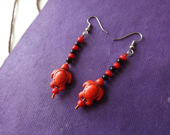 Turtle Earrings | Red Coral | Turtle Jewelry | Cute Earrings | Great Gift |