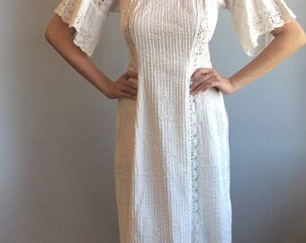 1970s Mexican White Cotton Dress