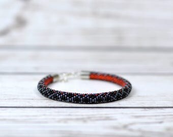 birthday gift|for|her girlfriend gift|for|wife gift|for|sister beaded bracelet snake bracelet red black jewelry statement bracelet serpent