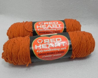 """Vintage Red Heart Yarn - Pantile Brown 283 - a """"wintuk Product"""" - 2 Skeins"""