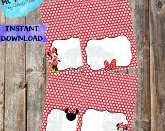 INSTANT DOWNLOAD - Minnie Mouse Printable Birthday Food Labels/Tents (Red) - YOU Print