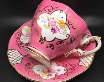 Rare royal albert hot pink handpaint vintage tea cup