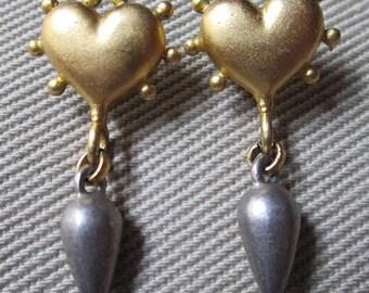 Vintage Linda Levinson Sacred Heart Matte Gold/Pewter Drop Earrings
