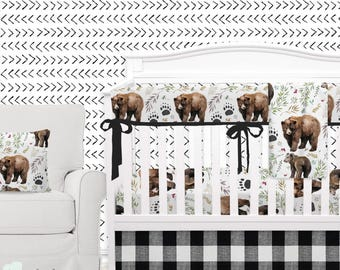 Adventure Woodland Bear Cub Baby Boy Crib Bedding | Adventure Woodland Nursery | Woodland Boy Nursery | Adventure Bear Baby Bedding
